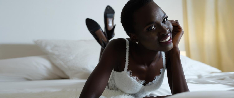 boudoir white lingerie black skin