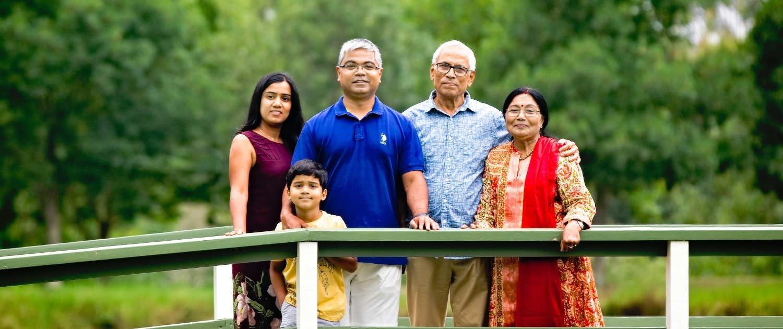 family picture on the bridge